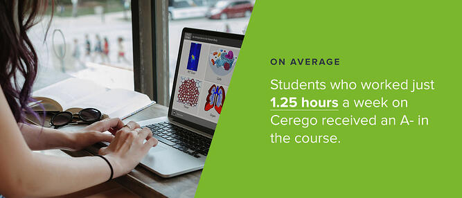 Student learning biology on Cerego