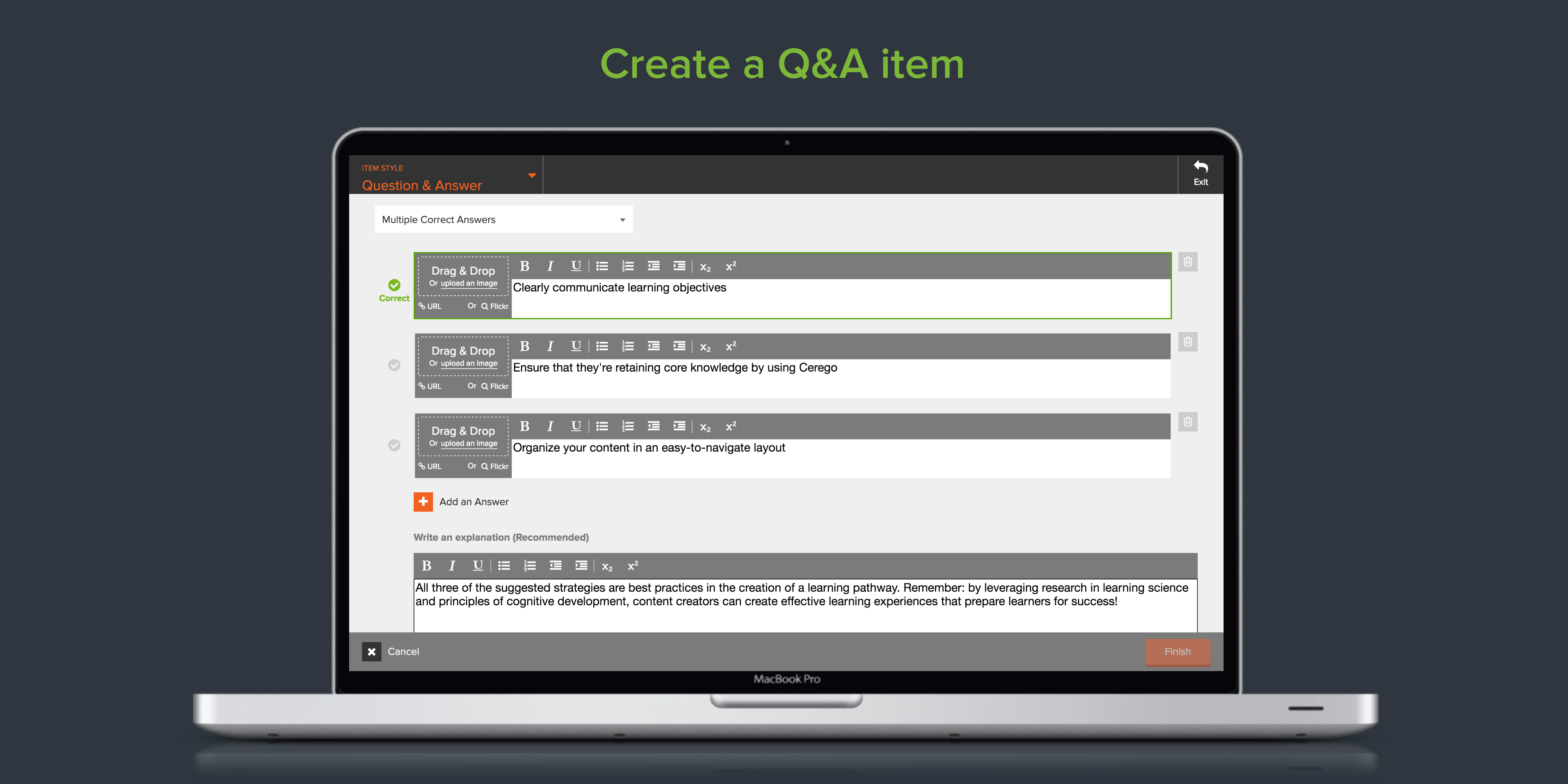 Build a Q&A item in Cerego